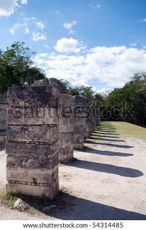 Grupo de las Mil Columnas, Chichen Itza, Yucatan, Mexico - stock photo
