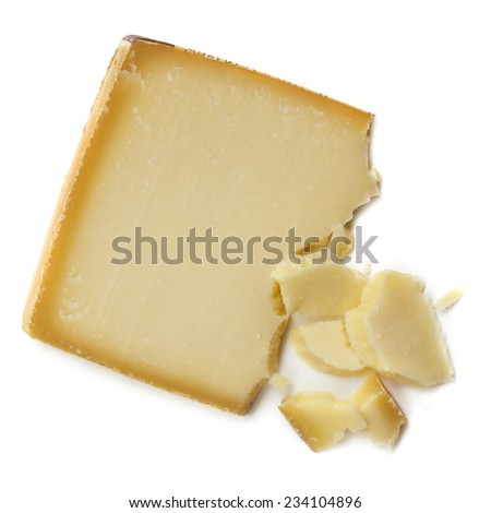 Gruyere cheese, isolated on white background. - stock photo