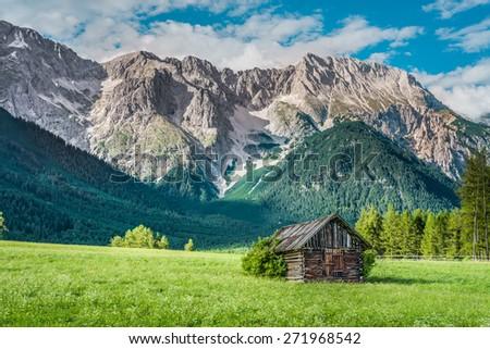 Gschwent fields near Obermieming on Sonnenplateau, western Innsbruck, Austria - stock photo