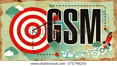 GSM - Global System for Mobile Communications - Drawn on Old Poster. Communication Concept in Flat Design. - stock photo