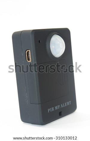 Gsm pir motion detector on the white background. - stock photo