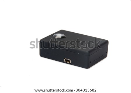 GSM spy bug with sim card on the white background. - stock photo