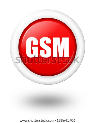 GSM telecommunication symbol with shadow - stock photo