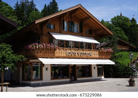 Gstaad, Switzerland. June 2015. A shop selling Louis Vutton fashion products.