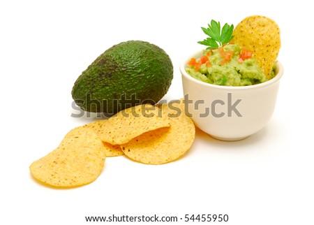 guacamole  and avocado isolated - stock photo