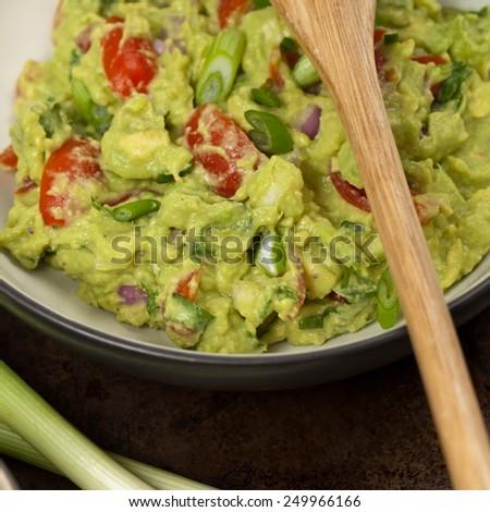Guacamole dip. Selective focus. - stock photo