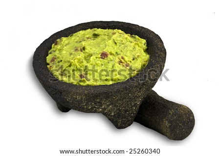 Guacamole in traditional Mexican Molcajete isolated on White - stock photo