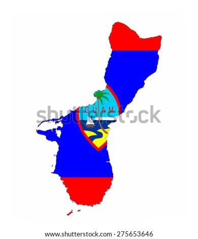guam country flag map shape national symbol - stock photo