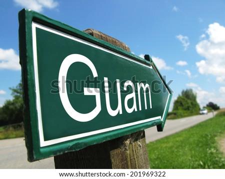 Guam signpost along a rural road - stock photo