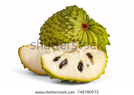 Guanabana useful lies on white background. Annona or milk apple