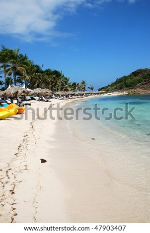 Guanahani Beach on Grand Cul-de-Sac Bay in St Barts, French West Indies - stock photo
