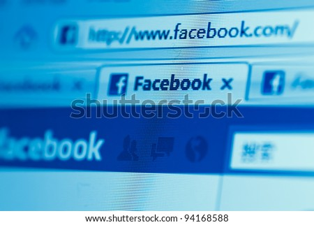 Guangdong, China - Feb 02: Facebook website Initial public offerings (IPO) for financing 5 billion dollars, but this website still could not accessed over China, Feb 02, 2012 in Guangdong, China. - stock photo