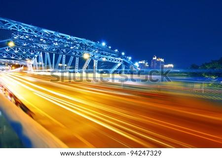 guangzhou Bridge Traffic at night - stock photo