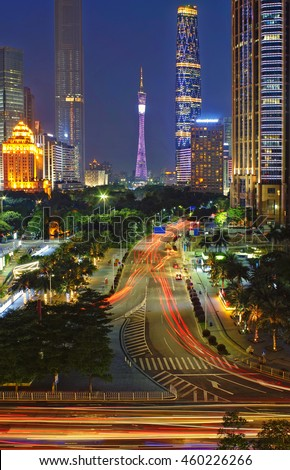 Guangzhou central axis view - stock photo