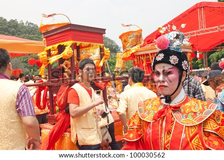 GUANGZHOU, CHINA  - APR 13: Prayer ceremony on Apr 13, 2012 in Mazu Culture Festival. This is China's traditional festivals, Held on the Mar 21 lunar each year, Pray for good luck.