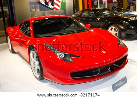 GUANGZHOU, CHINA - DEC 27: Ferrari 458 car on display at the 8th China international automobile exhibition. on December 27, 2010 in Guangzhou China. - stock photo