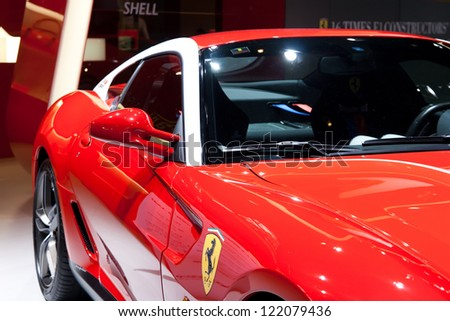 GUANGZHOU, CHINA - DEC 1:ferrari 599GTB car on display at the 10th China(Guangzhou) International Automobile Exhibition. on Dec 1, 2012 in Guangzhou China. - stock photo