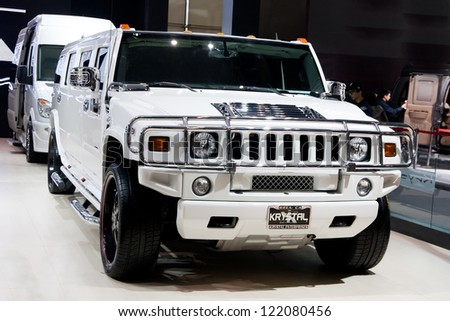 GUANGZHOU, CHINA - DEC 1:Hummer car on display at the 10th China(Guangzhou) International Automobile Exhibition. on Dec 1, 2012 in Guangzhou China. - stock photo