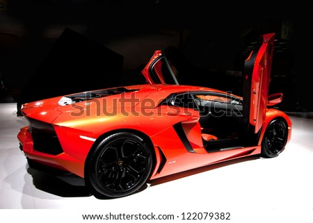 GUANGZHOU, CHINA - DEC 1:LAMBORGHINI Gallardo LP 550-2 car on display at the 10th China(Guangzhou) International Automobile Exhibition. on Dec 1, 2012 in Guangzhou China. - stock photo