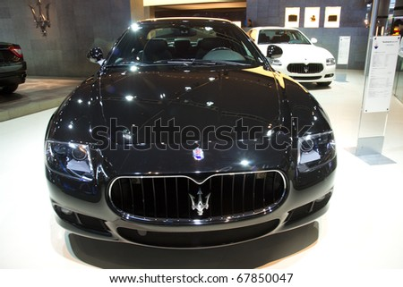 GUANGZHOU, CHINA - DEC  27: Maserati car on display at the 8th China international automobile exhibition(2010). on December 27, 2010 in Guangzhou China. - stock photo