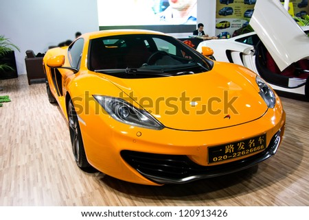 GUANGZHOU, CHINA - DEC 1:McLaren MP4-12C car on display at the 10th China(Guangzhou) International Automobile Exhibition. on Dec 1, 2012 in Guangzhou China. - stock photo