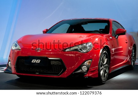 GUANGZHOU, CHINA - DEC 1:TOYOTA 86 car on display at the 10th China(Guangzhou) International Automobile Exhibition. on Dec 1, 2012 in Guangzhou China. - stock photo