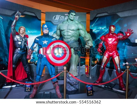 GUANGZHOU, CHINA - FEBRUARY 23, 2015: Avengers characters life-size statues are on display at the Disney Stars Exhibition in Taikoo Hui shopping mall.