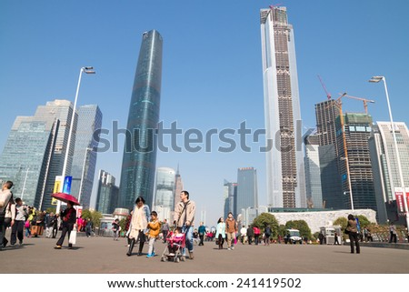 GUANGZHOU, CHINA - JAN.2: Guangzhou International Finance Center, IFC (437.51 m) on  Jan 2, 2015. located at new city axis intersection ,completed in 2005. - stock photo