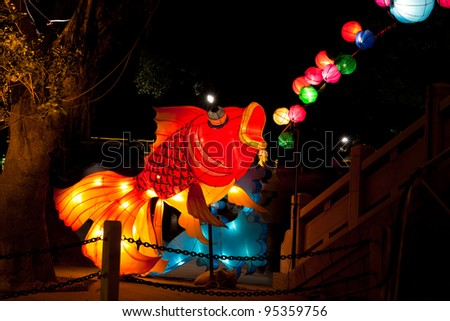 GUANGZHOU, CHINA  - JAN 3:  Lanterns are on display at The Lunar New Year Thematic Lantern Exhibition 2012 on Jan 3, 2012 in Guangzhou