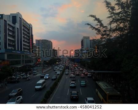 GUANGZHOU, CHINA -July 26,2016:Urban Transport in Guangzhou on July 26, 2016. Guangzhou is one of the major economic cities in China. - stock photo