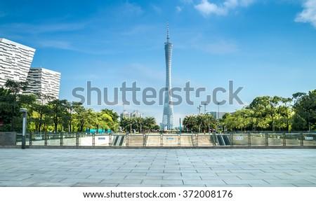 GUANGZHOU, CHINA - JUN 26. The Guangzhou Tower (600 m) on Jun. 26, 2015 in Guangzhou. located at new city axis intersection - stock photo