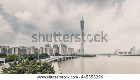 GUANGZHOU, CHINA - JUN 20. The Guangzhou Tower (600 m) on Jun. 20, 2016 in Guangzhou. located at new city axis intersection - stock photo