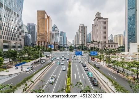 GUANGZHOU, CHINA - JUN 10: Urban Transport in Guangzhou on Jun 10, 2016. Guangzhou is one of the major economic cities in China - stock photo