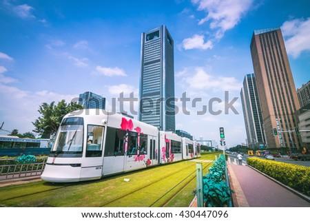 GUANGZHOU, CHINA - MAY 22.:Modern skyscrapers in Guangzhou on May 22, 2016. Guangzhou is one of the major economic cities in China - stock photo