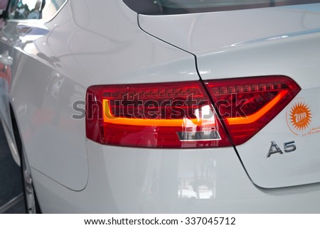 GUANGZHOU,CHINA - NOV 8:Audi A5 car taillight on Nov 8, 2015 in Guangzhou. This is a famous car brand. - stock photo