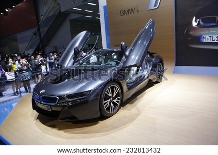 GUANGZHOU, CHINA - NOV. 22. 2014: BMW i8 full carbon electric vehicle during the 12th China International Automobile Exhibition in Guangzhou, Guangdong province. - stock photo