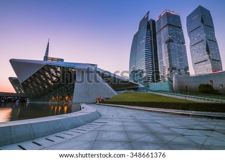 GUANGZHOU, CHINA - NOV.326: Guangzhou Opera House night landscape on Nov. 26, 2015 in Guangzhou,Designed by architect Zaha Hadid and has become one of the seven new landmarks in Guangzhou - stock photo