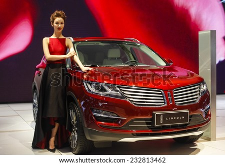 GUANGZHOU, CHINA - NOV. 22. 2014: Lincoln stand during the 12th China International Automobile Exhibition in Guangzhou, Guangdong province. - stock photo