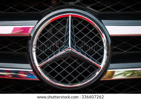 """GUANGZHOU,CHINA - NOV 8:Logo of the car brand """"Mercedes Benz""""  on Nov 8, 2015 in Guangzhou. This is a famous car brand. - stock photo"""