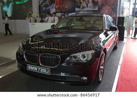GUANGZHOU, CHINA- OCT 2 BMW 730Li car on display at the Guangzhou Daily Baiyun International automobile exhibition on October 2, 2011 in Guangzhou, China.