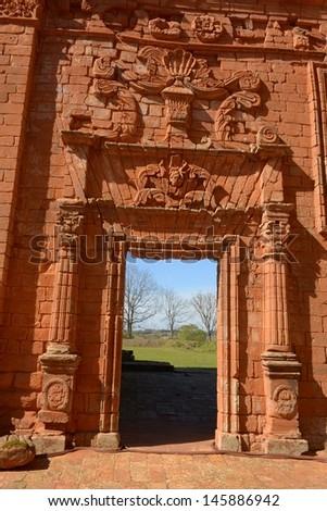 Guarani Jesuits Mission of San Ignacio Mini in Argentina - stock photo