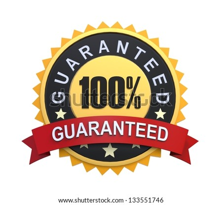 Guaranteed Label with Gold Badge Sign - stock photo