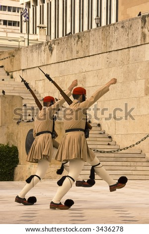 guard ceremonial  at the Parliament Building in Athens, Greece - stock photo