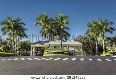 Guard entrance to gated community in South Florida