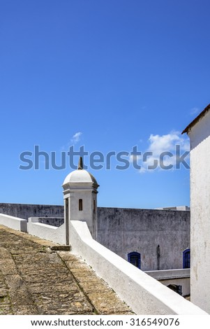 Guardhouse of the historic fortress of Santa Cruz in the city of Niteroi who was responsible for overseeing the entry of Guanabara Bay in Rio de Janeiro - stock photo