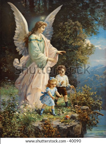 Guardian angel protecting children near a ledge - an early 1900s vintage illustration - stock photo