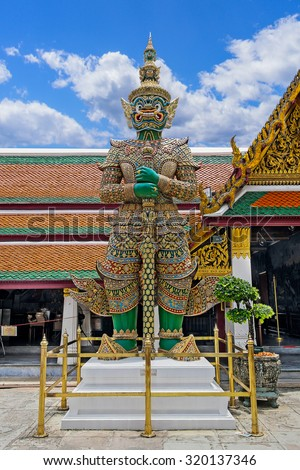 Guardian in Wat Phra Kaew Grand Palace - stock photo