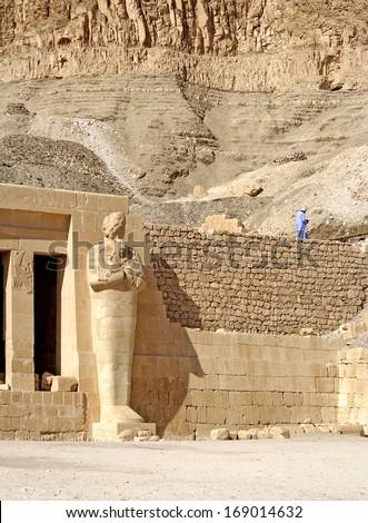 Guardian of the temple Hatsepsut, Egypt, UNESCO World Heritage Site - stock photo
