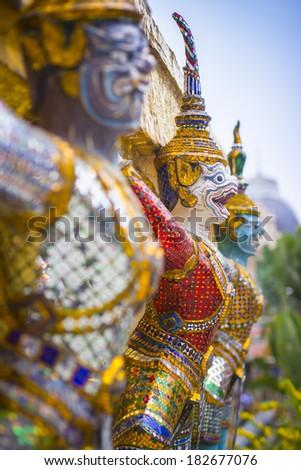 Guardian of Wat Pra Kaew Grand Palace Bangkok Thailand - stock photo