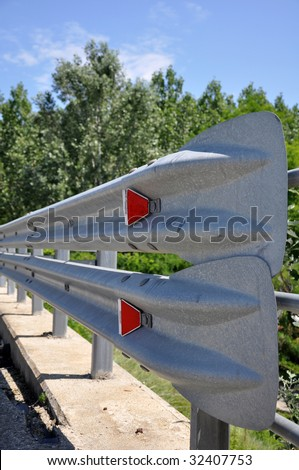 Guardrail closeup with background fade out - stock photo